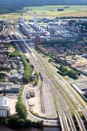 Gehele spoorzone met centraal Station Den Bosch.
