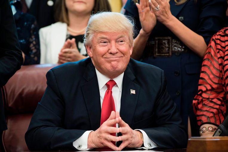 Amerikaans president Donald Trump in zijn Oval Office. Beeld AFP