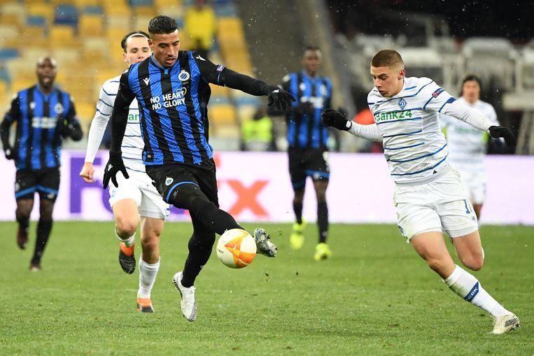 Nabil Dirar mocht nog eens spelen in het ijskoude Kiev. Beeld AFP