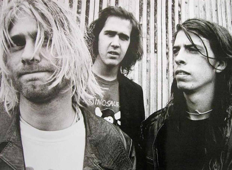 Nirvana, van links naar rechts: zanger-gitarist Kurt Cobain, bassist Krist Novoselic en drummer Dave Grohl. Beeld Swa Van Damme
