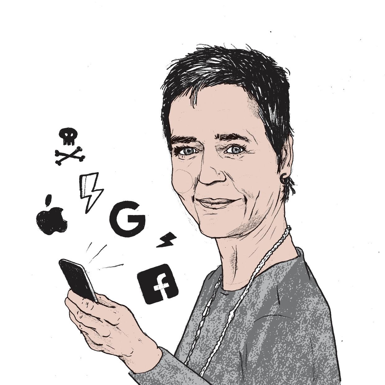 Margrethe Vestager  is de schrik van Silicon Valley. Ze verdiende de voorbije vijf jaar al ronkende bijnamen zoals de Dragon Killer, de Ice Queen en Miss Cool. Beeld Gijs Kast