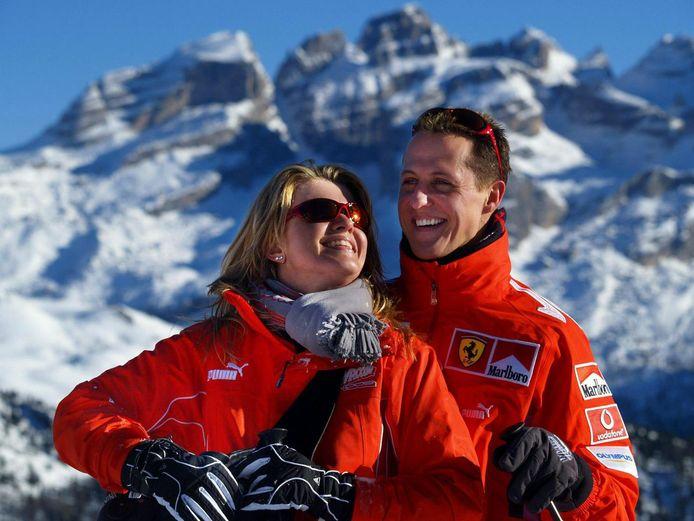 Schumacher en zijn vrouw Corinna in het Italiaanse Madonna di Campiglio in 2005.