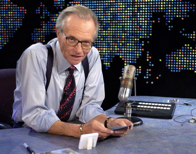 Larry King tijdens een uitzending van Larry King Live. Beeld WireImage