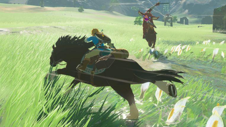 Een screenshot uit 'The Legend of Zelda: Breath of the Wild' (2017), dat een gigantische spelwereld heeft waar je uren doorheen kunt dwalen. Beeld Nintendo