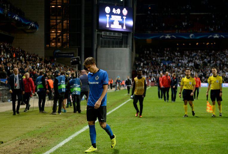 Een teleurgestelde Jelle Vossen na afloop van de 4-0 van FC Kopenhagen. Beeld Photo News