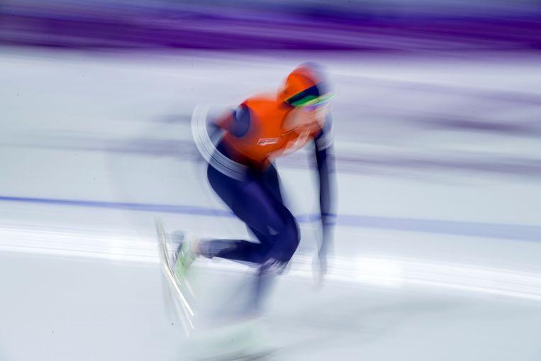 Jorien ter Mors knalt naar goud op de 1.000 meter in de Gangneung Oval. Beeld Photo News