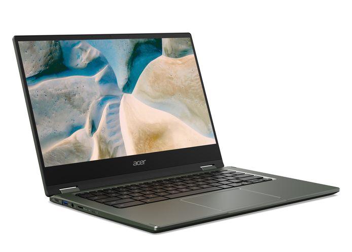 De Chromebook Spin 51 van Acer, een van de recentste toestellen. Chromebooks zien er bijna  identiek hetzelfde uit als Windows-laptops: alleen het besturingssysteem is verschillend.