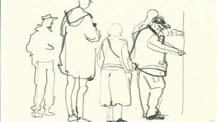 De nieuwe stadstekenaar tekende al schetsboeken vol, geïnspireerd door 'gewone' taferelen in de stad Beeld Arie Schippers