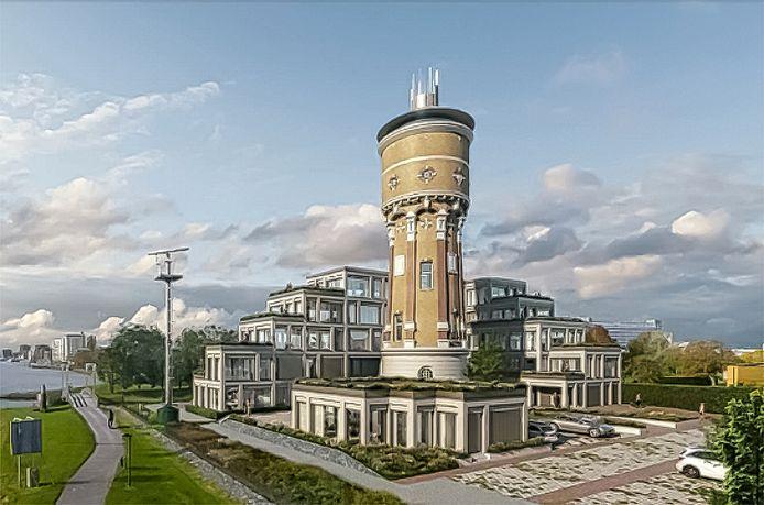 Zo moet het ensemble van watertoren, flat en de losse woning voor de toren er uit gaan zien, als het aan projectontwikkelaar Isa ligt.