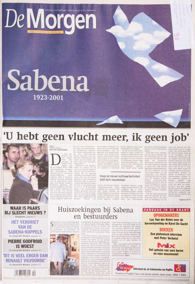 De crash kon niet meer uitblijven, the sky bleek helaas the limit. 7 november 2001: Sabena failliet en een Belgisch kunstwerk aan diggelen. Beeld Studio DM