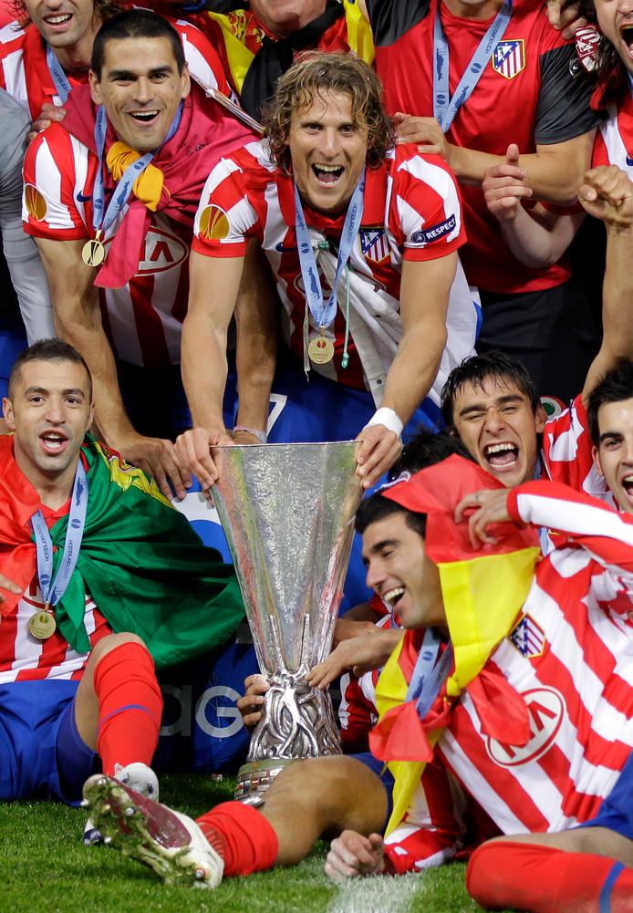 Vreugde bij de spelers van Atlético Madrid na de gewonnen Europa League-finale in 2010 tegen Fulham.