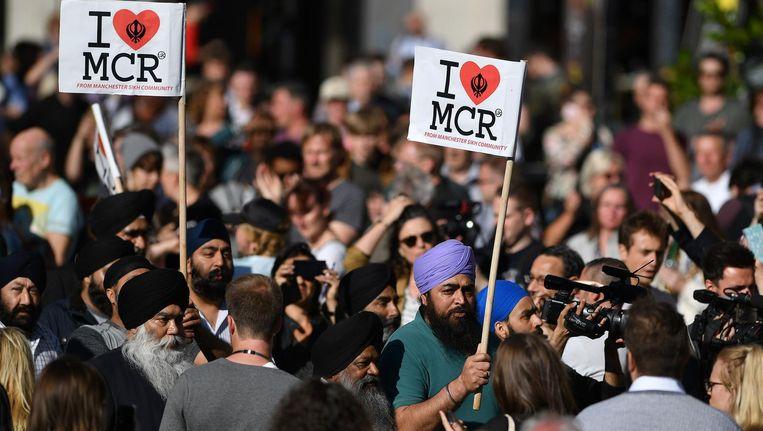 Protest na de aanslag in Manchester. Beeld afp