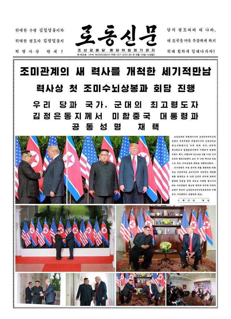 De Noord-Koreaanse staatskrant Rodong Sinmun was lovend over de ontmoeting. Beeld