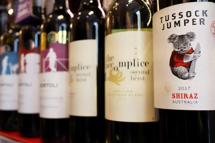 Flessen met Australische wijn in een winkel in Peking, China.