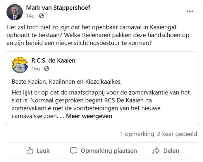 Een noodoproep op Facebook van burgemeester Mark van Stappershoef naar de Rielse inwoners.