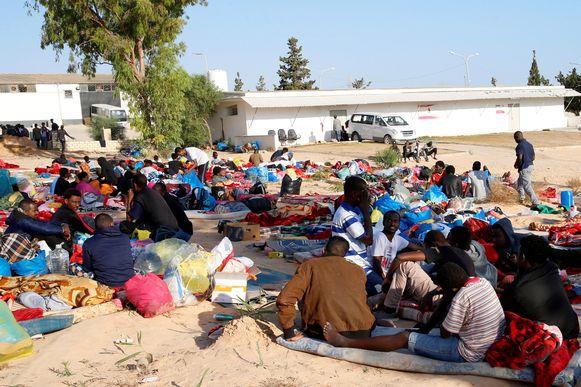 Een migrantenkamp in Tajoura, nabij de Libische hoofdstad Tripoli.