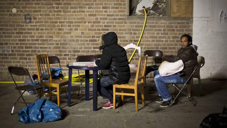 De asielzoekers zijn mogen toch in de Vluchtkerk blijven. Beeld anp
