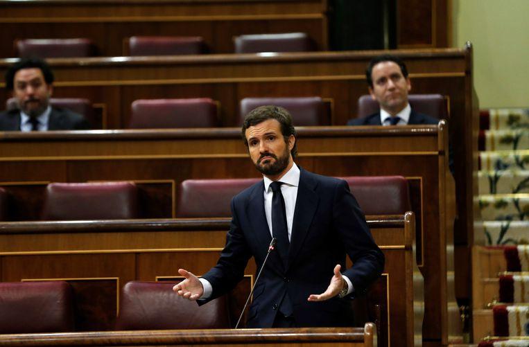 Pablo Casado, namens de PP oppositieleider in het Spaanse parlement. Beeld EPA
