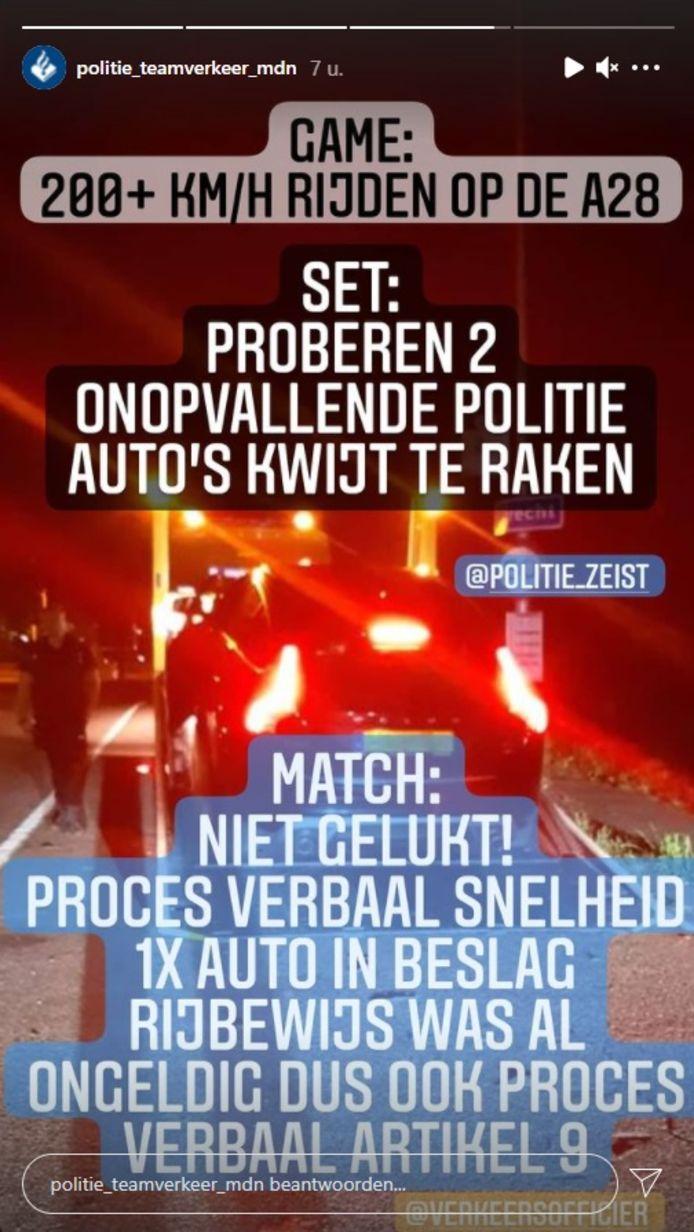 De jonge bestuurder uit Amersfoort werd na een achtervolging op de A28 bij Zeist aan de kant gehaald door de politie. Zijn auto werd met een berger weggesleept.