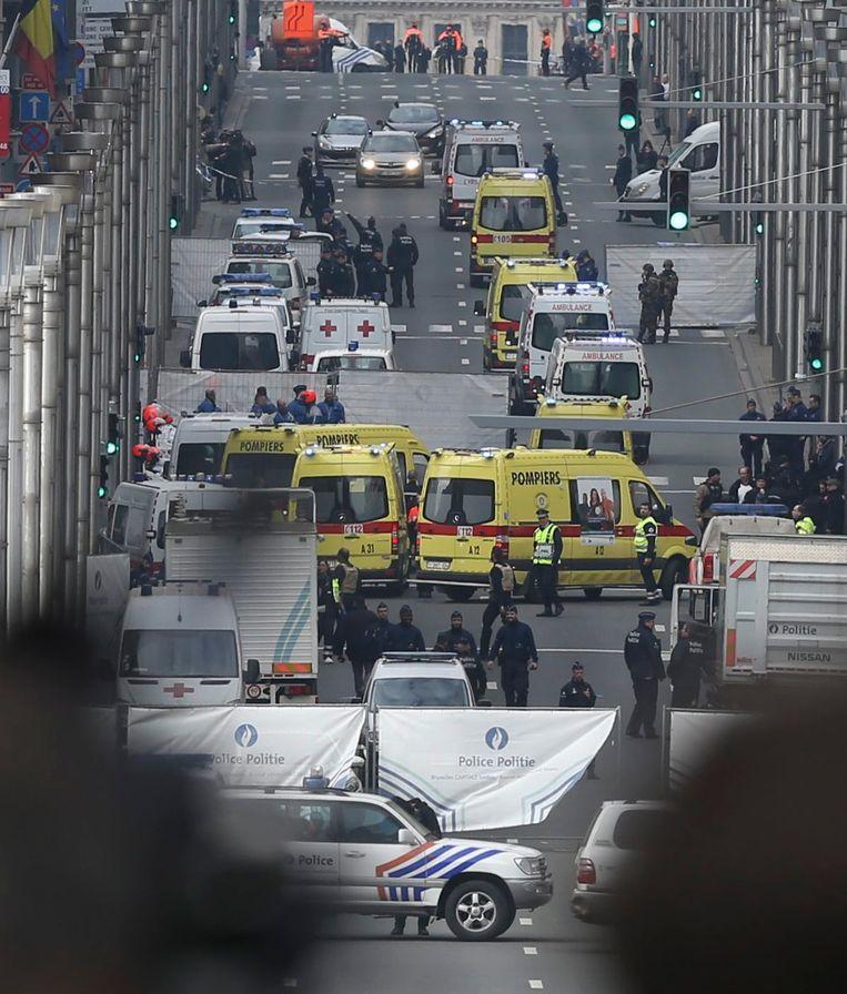 Aan het metrostation van Maalbeek kregen slachtoffers de eerste hulp toegediend. Beeld EPA
