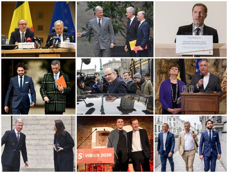 Ze passen nog net herkenbaar in een collage: deze stoet informateurs, preformateurs, opdrachthouders, onderhandelaars en 'snuffelaars' werden het voorbije jaar al het veld ingestuurd.  Beeld Photo News/Belga