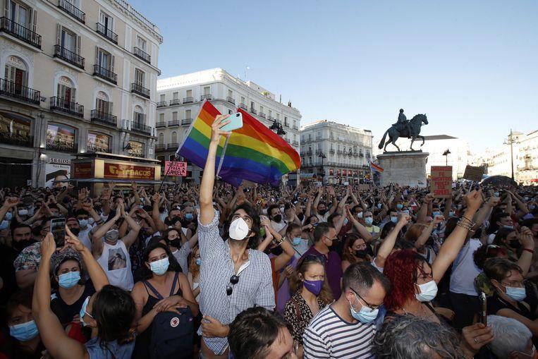 Protesten in Madrid Beeld EPA
