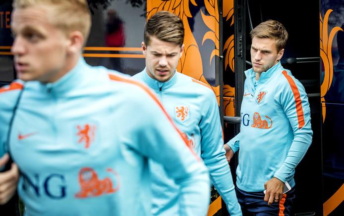 Donny van de Beek (L), Marco van Ginkel (M) en Joël Veltman.