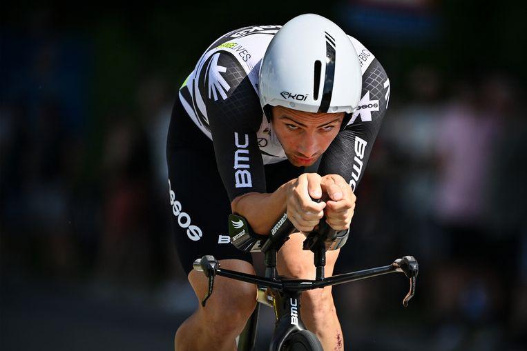 Victor Campenaerts tijdens het Belgisch kampioenschap in Ingelmunster.  Beeld BELGA