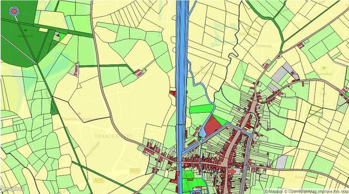 Deel van de kaart van Helmond die werd getekend voor de website historischegeografiebrabant.nl. Het rode rondje linksboven is het grafeilandje in De Warande. Onder de kadasterkaart is de huidige topografische kaart te zien.