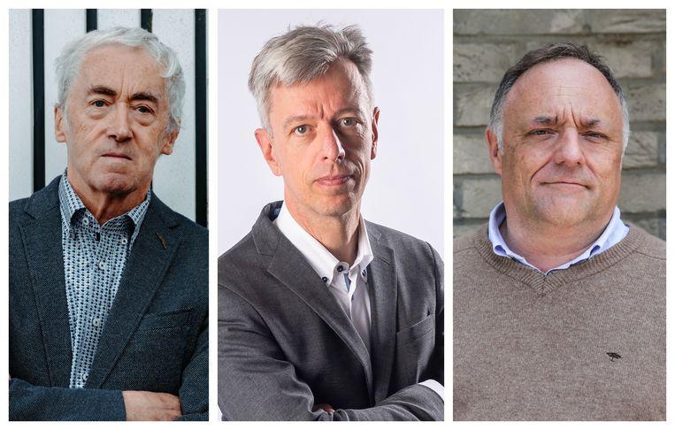 Paul De Grauwe, Geert Noels en Marc Van Ranst tonen zich teleurgesteld over de versoepelingen. Beeld Damon De Backer / Photonews / AFP