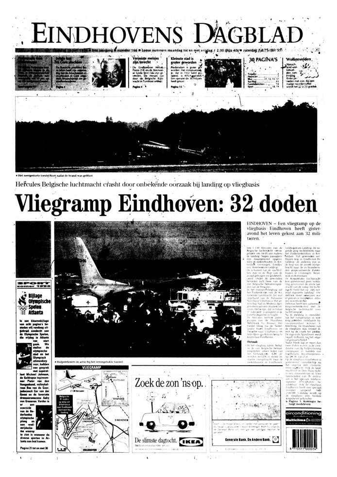 De voorpagina van het Eindhovens Dagblad de dag na de ramp met de Hercules op 15 juli 1996.