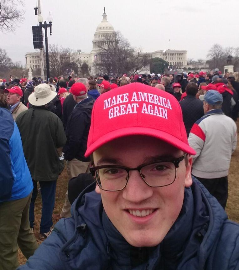 Jake Owen Raats tijdens de inauguratie van Donald J. Trump. Beeld Jake Owen Raats