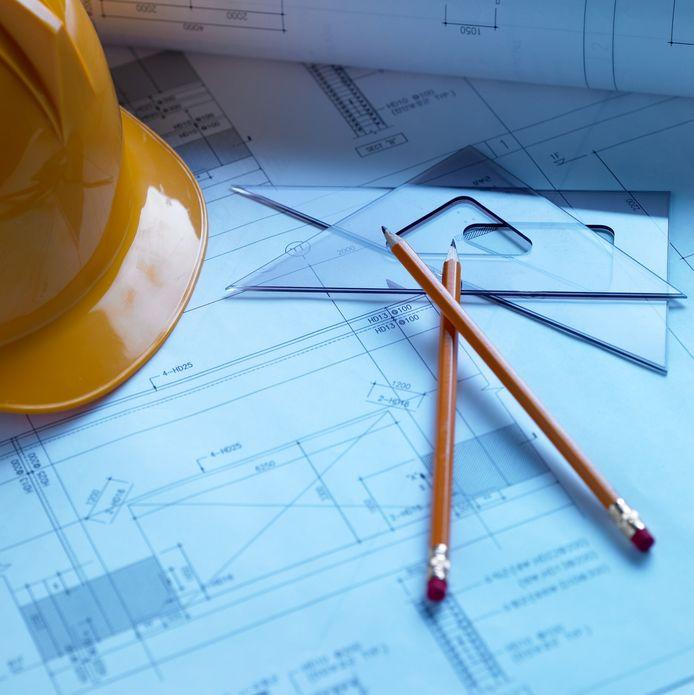 Stockfoto bouw bouwen bouwplan bouwplannen