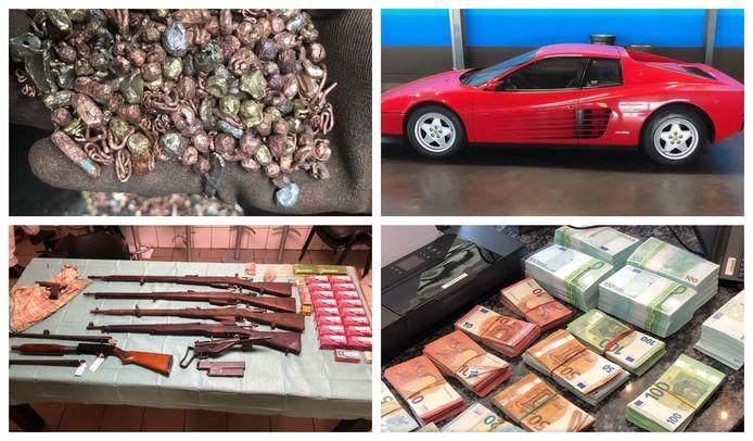 Naast de kilo's goud, de tien vuurwapens en de 450.00 euro cash zijn ook enkele peperdure wagens in beslag genomen, waaronder een Ferrari Testarossa.