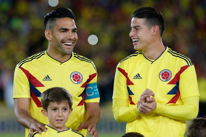 Falcao (links) en Rodriguez (rechts), de sterren van Colombia.