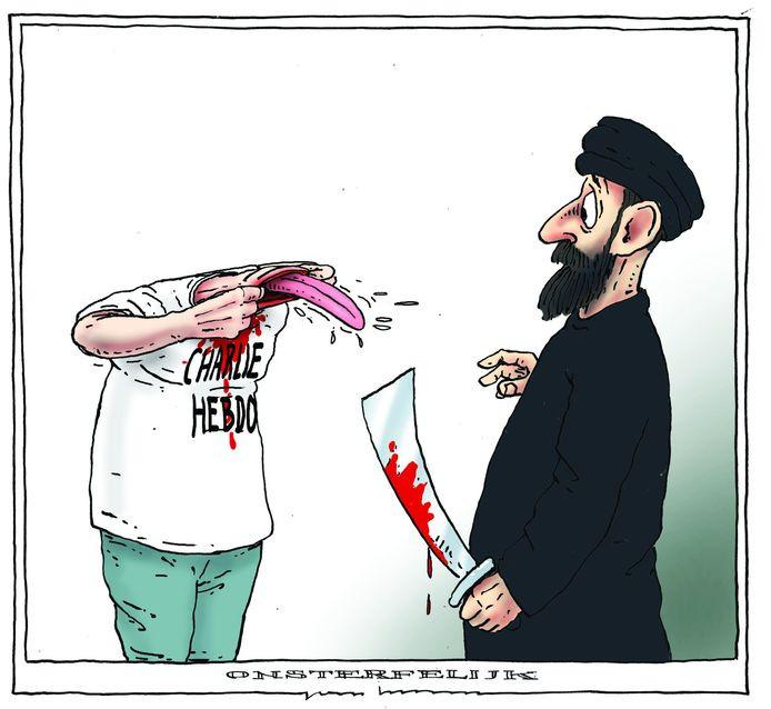 De spotprent van Joep Bertrams, die een jihadist uitbeeldt die een journalist onthoofd heeft, hing vijf jaar lang in het Rotterdamse klaslokaal. Toen een docent deze toonde tijdens een bespreking van de moord op Paty, kreeg hij bedreigingen en moest onderduiken.