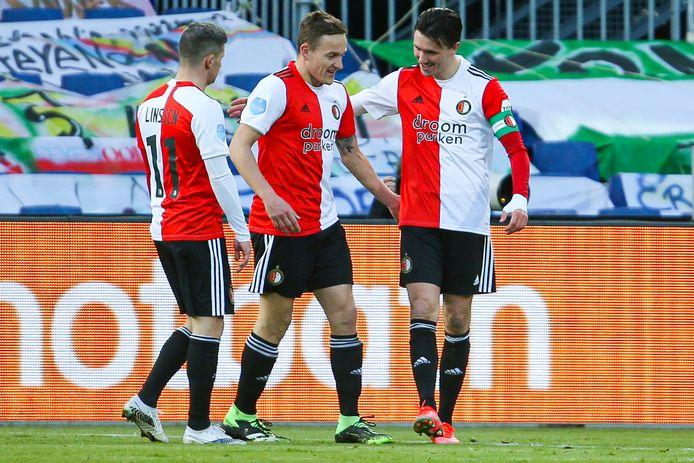 Bryan Linssen, Jens Toornstra en Steven Berghuis van Feyenoord.