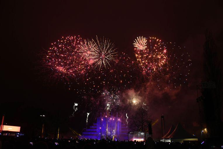 Nieuwjaars vuurwerk op de Heizel te Brussel