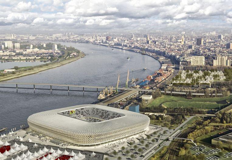 Een eerste maquette van het nieuwe Antwerps stadion aan Petroleum Zuid. Beeld rv