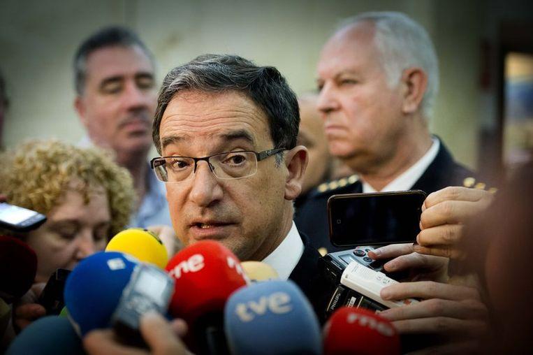Joaquin Bascunana, een afgevaardigde van de regering van het Spaanse Murcia, tijdens de persconferentie. Beeld anp