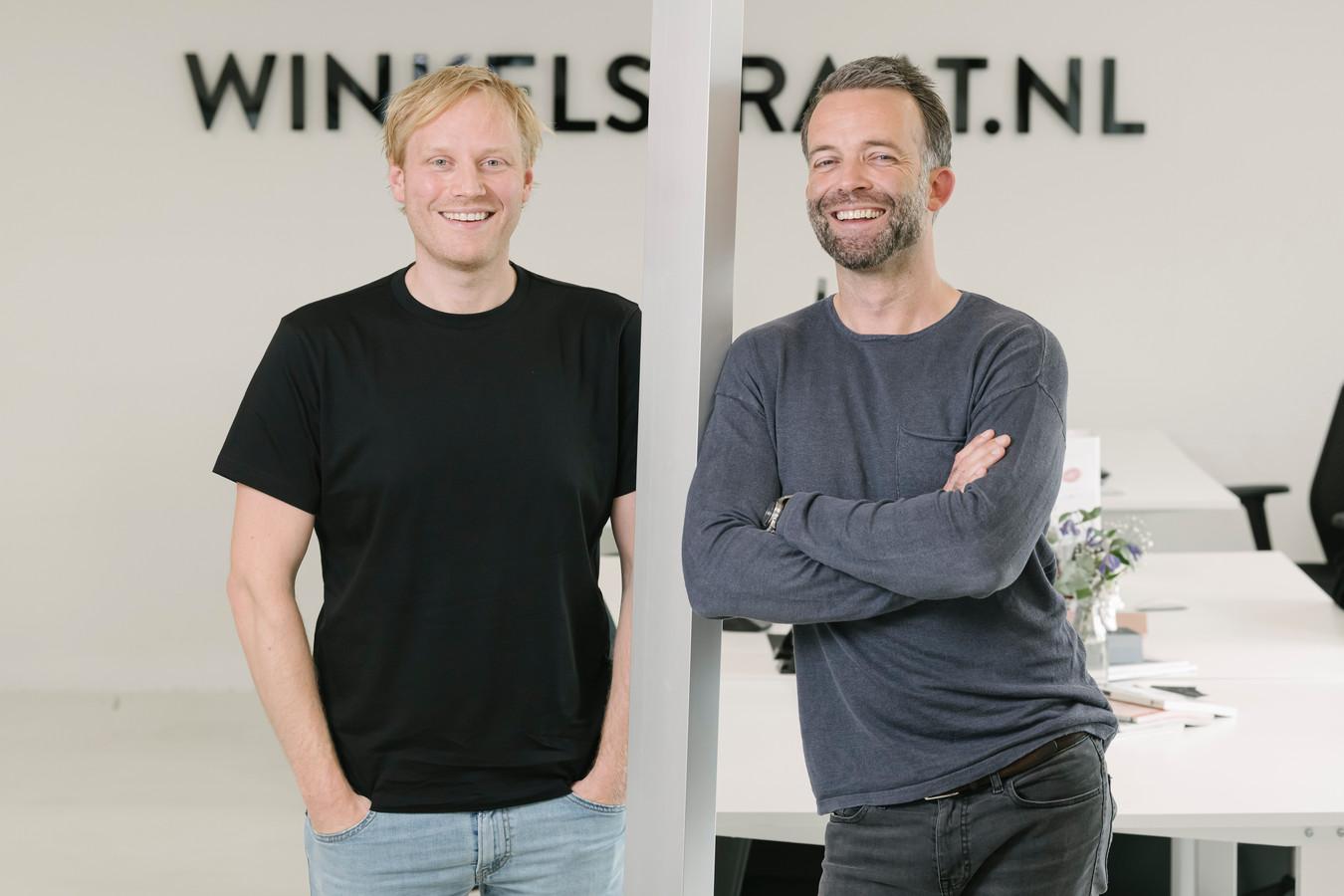 Joost van der Veer (l) en Maurits de Gier, oprichters van Winkelstraat.nl.