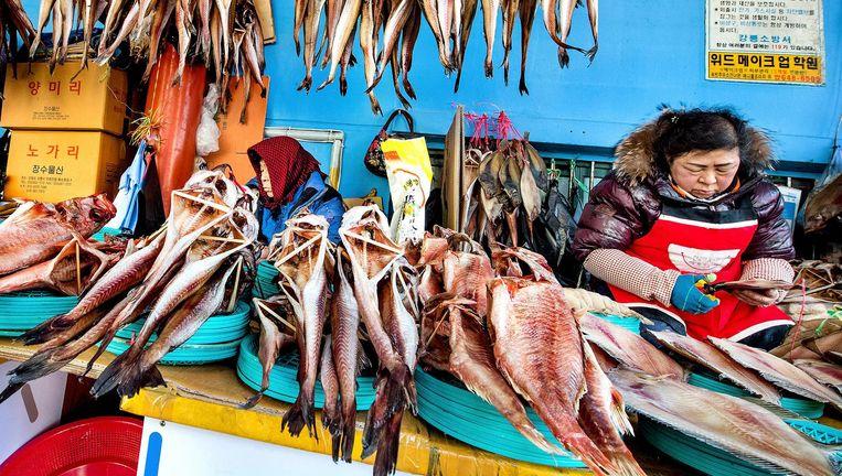 Vismarkt in Gangneung. Beeld Klaas Jan van der Weij