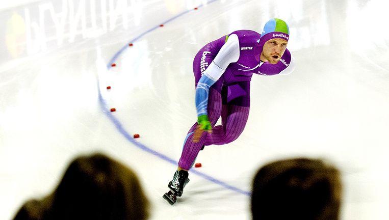 Michel Mulder tijdens zijn teleurstellende race op de 1.000 meter in Enschede. Beeld null