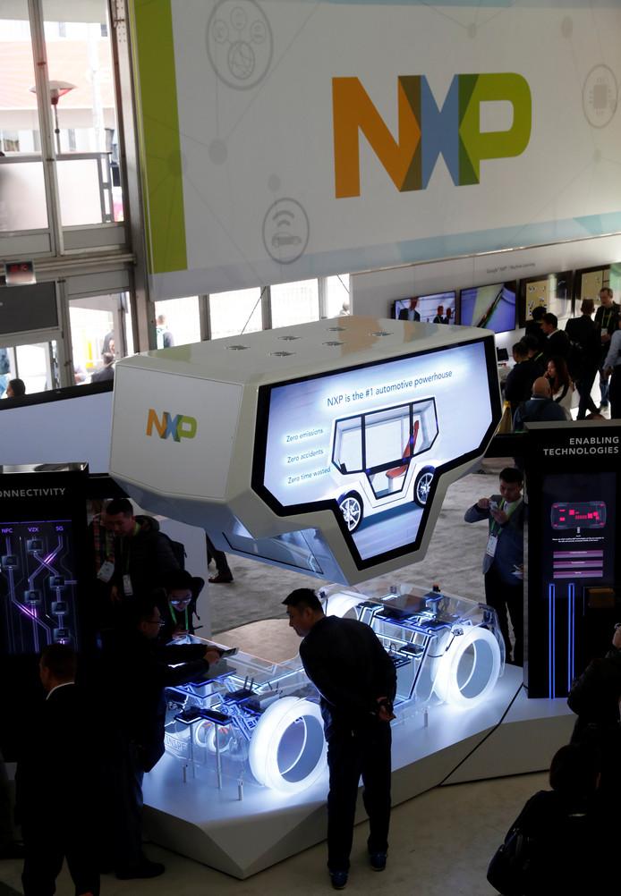 Op de stand van NXP op de CES in Las Vegas wordt de zelfrijdende auto gedemonstreerd.