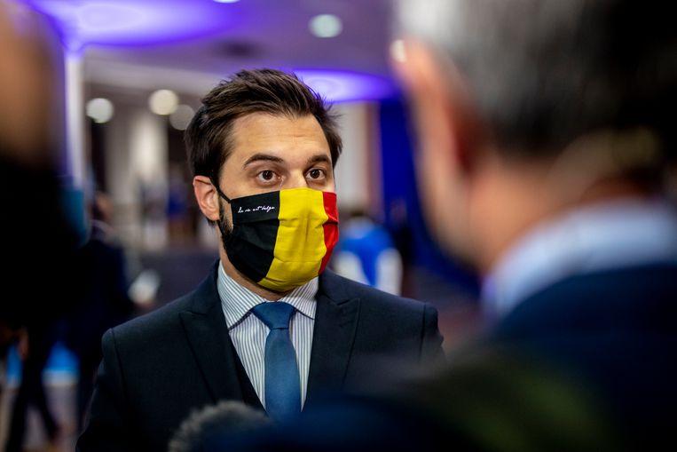MR-voorzitter Georges-Louis Bouchez bij het ledencongres woensdag, aan de vooravond van de verdeling van de ministerportefeuilles. Beeld BELGA
