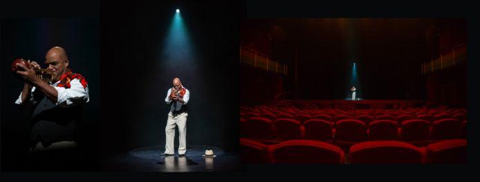 Anoek van Nunen maakt van artiesten, onder wie Trompettist Michael Varekamp, een drieluik, waarbij ze uitzoomt van een close-up, naar de artiest alleen op een leeg podium, naar de artiest in een lege zaal.