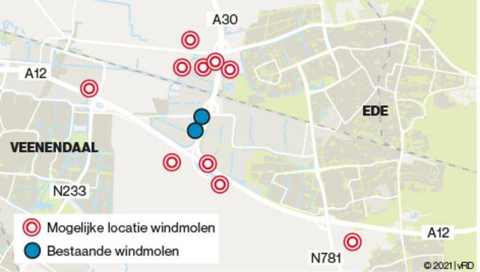 De tien plekken die door Ede zijn aangewezen als plekken waar windmolens kunnen komen.