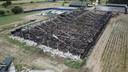 De afgebrande stal in Didam vanuit de lucht. Er kwamen afgelopen week 2.500 varkens om.