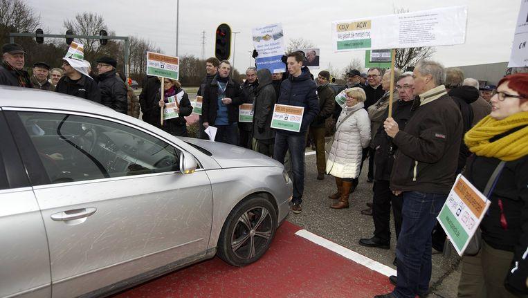 Archiefbeeld: Arcopar-aandeelhouders protesteren bij aanvang van de nieuwjaarsreceptie van CD&V, januari 2014. Beeld BELGA