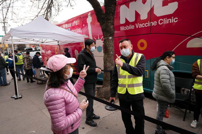 Een mobiel vaccinatiecentrum in de Amerikaanse metropool New York.